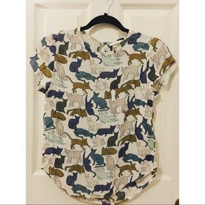 H&M Cat-Pattern Chiffon Top 🐱